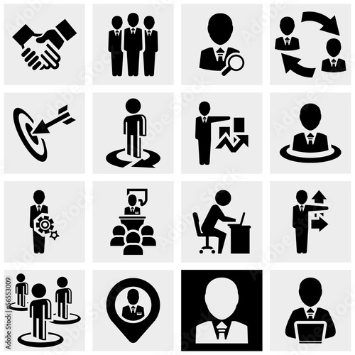 Business man vector icons set on gray.
