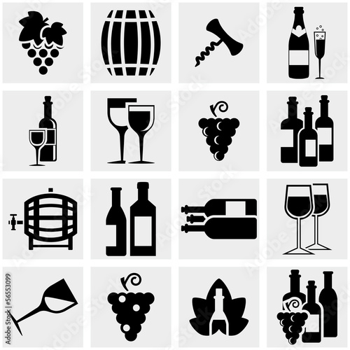 Wine vector icons set on gray