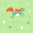 New Year card with a horse and snowflakes
