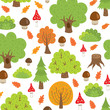 seamless pattern autumn trees and mushrooms