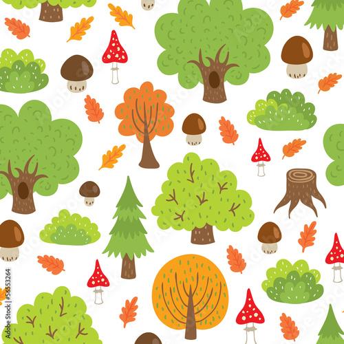 seamless pattern autumn trees and mushrooms