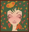 Autumn girl, vector illustration