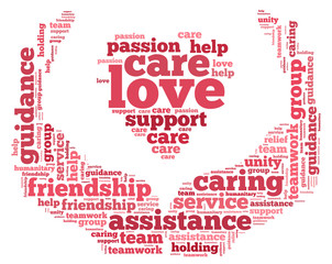 love and care info - word cloud concept