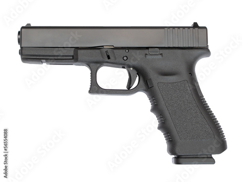 9 mm automatic hand gun isolated on white background.