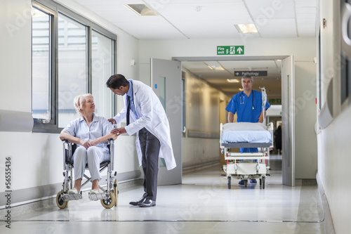 Doctor Patient Hospital Corridor Nurse Pushing Gurney Stretcher