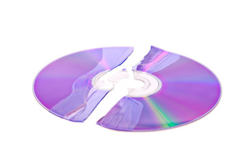 Shattered DVD / CD isolated on a white background
