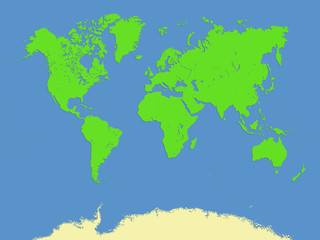 World map with minimal bevel ,emboss and drop shadow style