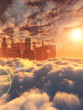 aerial view of Sci Fi City with clouds and sun