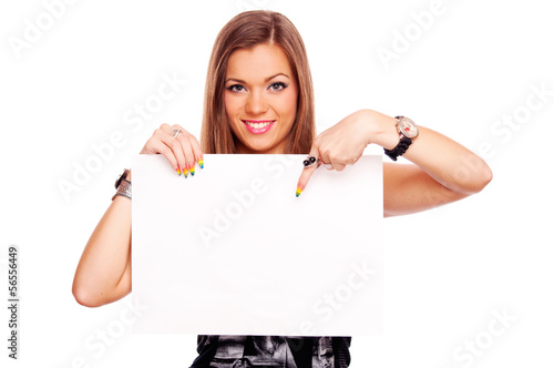 Young woman with blank paper