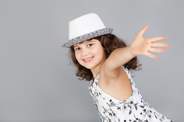 fasion cute girl in black white hat