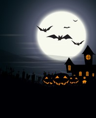 Halloween Background with haunted house and scary pumpkins