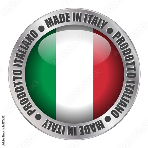 """MADE IN ITALY"" label (badge stamp flag italian produce)"