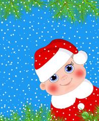 Новогодняя открытка.Ребенок в новогоднем колпаке
