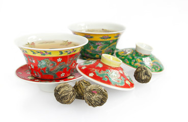 Chinese tea cup sets with flower tea balls