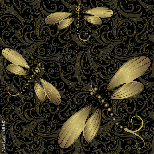 Seamless black-gold vintage pattern