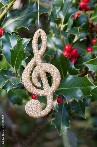 Decorative music note hanging on holly sprigs (manual focus)