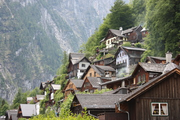 Hallstatt houses in the mountains