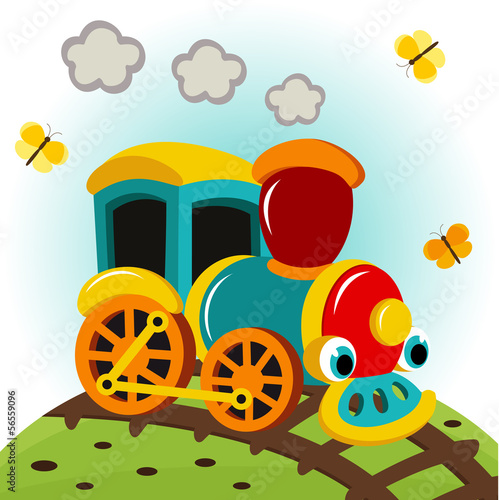 animated train - vector illustration