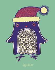 christmas bird, illustration of doodle penguin in a hat, merry c