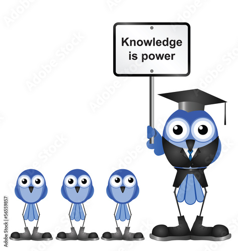 Knowledge message sign with bird teacher