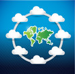world map cloud computing network diagram