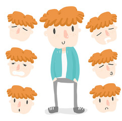 orange hair boy emotion