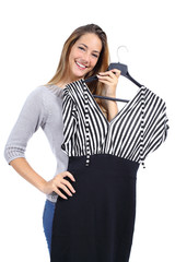 Happy woman trying clothes