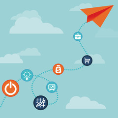 Vector business concept -flying  paper plane