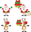 Santa Claus And Reindeer Cartoon Characters 2. Collection Set