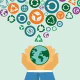 Vector ecology concept - human hands holding globe