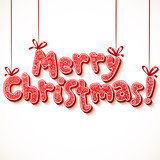 Ornate merry christmas vector red sign