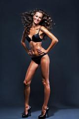 Gorgeous woman in black bikini