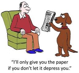Dog brings in depressing paper