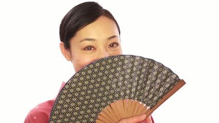 Asian woman wearing Japanese traditional kimono