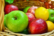 Basket full of ripe apples