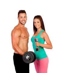Attractive couple training