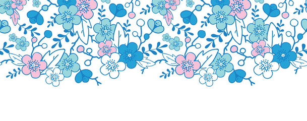 vector blue and pink kimono blossoms horizontal seamless pattern