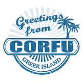 Corfu greek island, stamp
