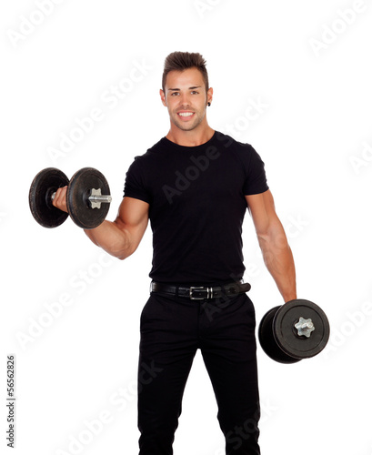 Young stylish lifting weights