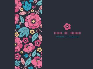 Vector Night Kimono Blossom Horizontal Frame Seamless Pattern