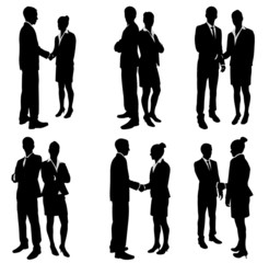business people handshake silhouettes - vector