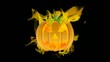 Halloween Carved Pumpkin Burning with Fire Flames