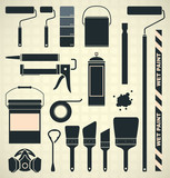 Vector Set: Painting Supplies Icons and Silhouettes