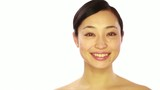 Asian woman skin care beauty white background