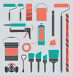 Vector Set: Retro Painting Supplies Icons and Silhouettes