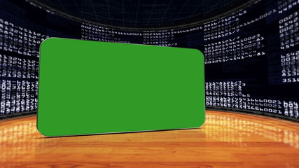 Numbers Room and Monitor Green Screen, with Alpha Channel