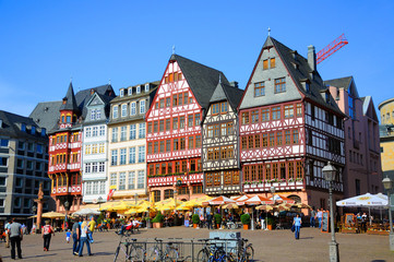 Romerberg (Romerplatz) with old buildings, Frankfurt am Main, He