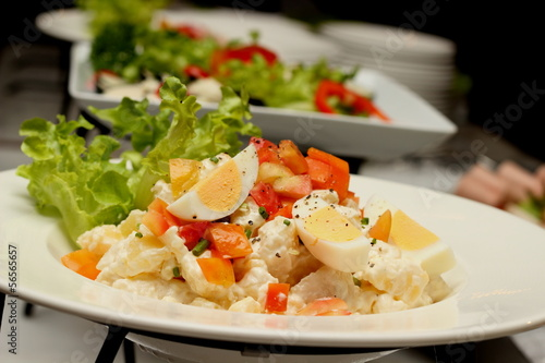 Potatoes salad with boiled eggs