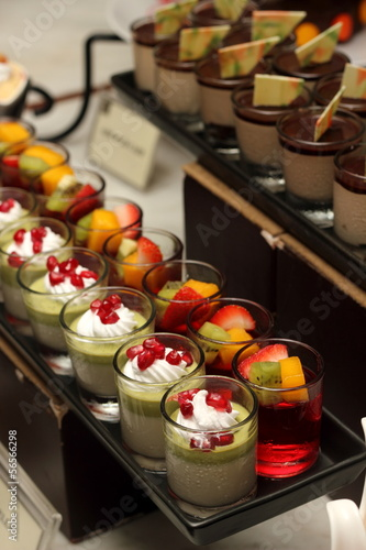 Green tea mousse dessert in a glass