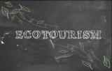 Ecotourism green tourism blackboard poster